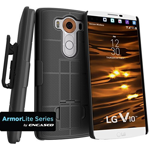 Lg Clips (Encased® LG V10 ARMORLITE Belt Clip Holster Case - Smooth Black)
