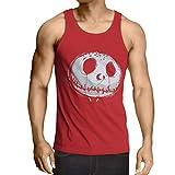 lepni.me Camisetas de Tirantes para Hombre cráneo asustadizo Cara - Pesadilla - Ropa de Fiesta de Halloween (Medium Rojo