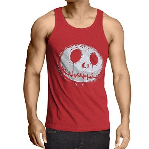 gstigend Schädel Gesicht - Alptraum - Halloween-Party-Kleidung (Small Rot Mehrfarben) ()