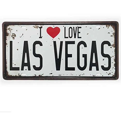Ducomi Kennzeichen Vintage Blech, Kennzeichen Beleuchtung Wand mit Drucke Retro – Schild Metall Perfekt für Haus, Musik, Restaurants Bar und Garage - 15 x 30 cm (Las Vegas) (Nägel Vegas Las)