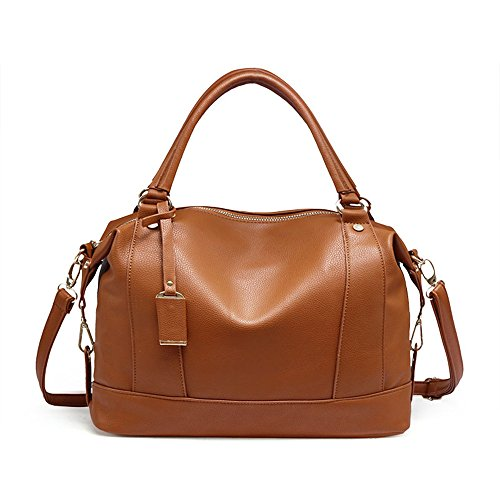 Braun Bowling Taschen Damen Handtaschen Fashion Sanft PU Leder Schultertasche Totes (Bowling Leder Tasche Kleine)