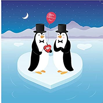 gay penguin couple with penguin story gay valentines card same sex valentines
