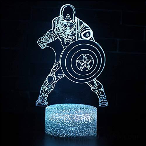 krieg Captain America 7 Farbwechsel Licht 3D Illusion Bulbing Lampe Halloween Weihnachten Kinder Geschenk,7colortouch+remotecontrol ()