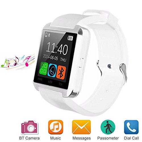Bluetooth Smart Watch Uhr für Android iOS Smartphones, Letopro U8 Smartwatch Intelligente Armbanduhr mit Schrittzähler/Remote Fotografie/Stoppuhr, Smart Gesundheit Armbanduhr für iPhone Samsung Huawei (Weiß) Samsung S5 Kamera Remote