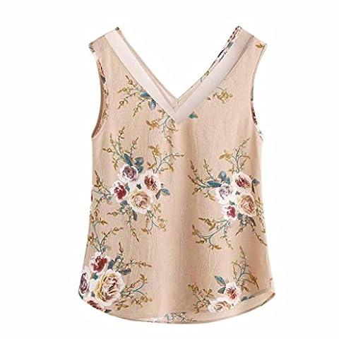 Kolylong® 2017 Femmes Débardeurs Impression Floral Casual Manteau sans manches Coupe Top Vest Chemise en mousseline d'été Chemise Cami Top (XXL/FR 48,