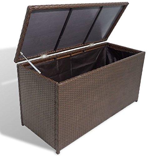 vidaXL Aufbewahrungstruhe Auflagenbox Gartentruhe Kissenbox Poly Rattan Braun