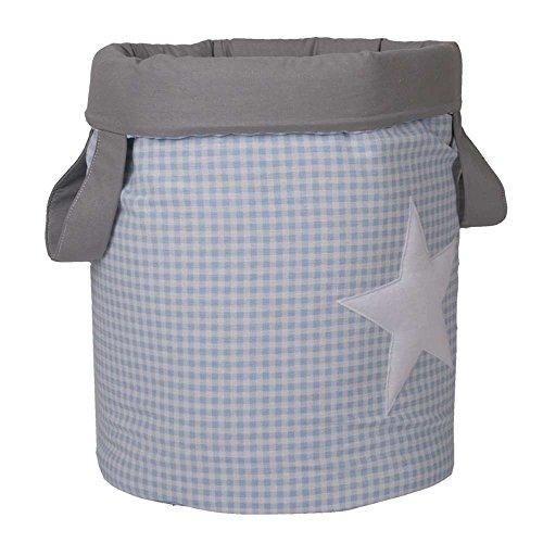 Funny Baby Vichy - Juguetero acolchado 30 x 40 cm, diseño estrellas, color azul