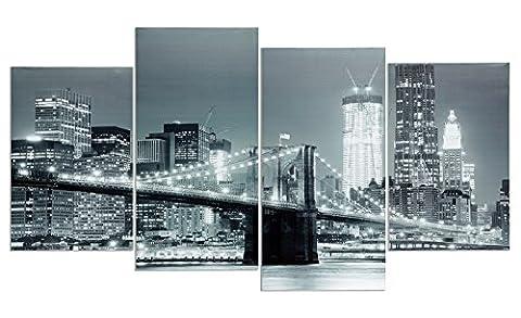levandeo Wandbild 4 teilig 130x70cm - New York Brooklyn Bridge