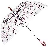 Flamingo Durchsichtiger, Transparent Designer Damen Regenschirm Transparent