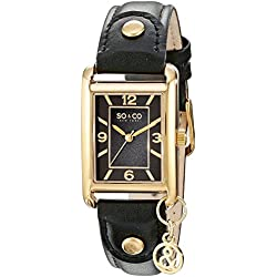 SO & CO New York Madison Women's Quartz Watch with Black Dial Analogue Display and Black Leather Strap 5024.2