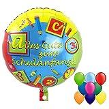 partydiscount24 Folienballon Schulanfang: Alles Gute Zum Schulanfang - ABC & 123 Ø 45 cm + 3 Gratis Luftballons Bunt Gemischt Ø 30 cm