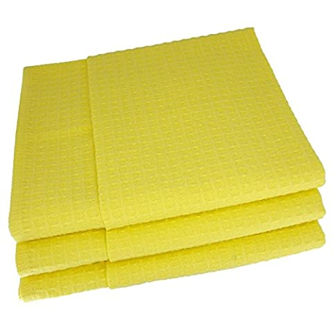 3x Geschirrtücher / Tücher aus 100% Baumwolle Waffel-Piqué in gelb