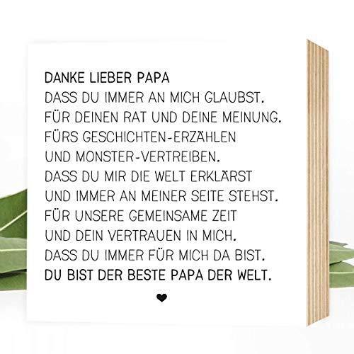 Danke lieber Papa - einzigartiges Holzbild 15x15x2cm zum Hinstellen/Aufhängen, echter Fotodruck mit Spruch auf Holz - schwarz-weißes Wand-Bild Aufsteller zur Dekoration oder Geschenk - Danke-schön