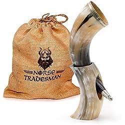 Genuino Cuerno de Beber Vikingo | 30cm de Cuerno de Buey y un Soporte de Cuerno | Saco de Yute Regalo