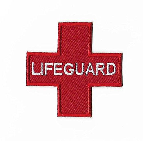 Lifeguard Patch (7,5cm) DIY Nähen oder Bügeln bestickt auf Badge rot Kreuz Aufnäher Pool Paramedic Fancy Kleid Kostüm Schwimmen Instructor Life (Kostüme Lifeguard)
