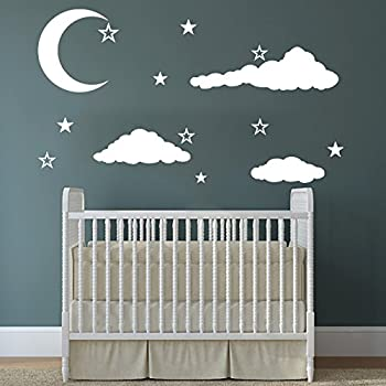 Cloud Wall Decal Clouds Decals Moon And Stars Cloudy Sky Baby Room Wall  Decal Children Gift Bedroom Nursery Boy Girl Vinyl Stickers Wall Decor  Playroom ... Part 67
