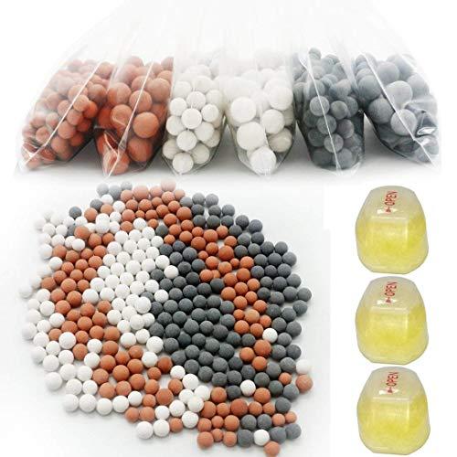 Vitamin C Nachfüll-Set für Duschkopf mit mehreren Stufen, pH Balance, Turmalin Kugeln, hilft Chlor, Fluorid, Verunreinigungen, hartes Wasser zu entfernen, Shower Filter -