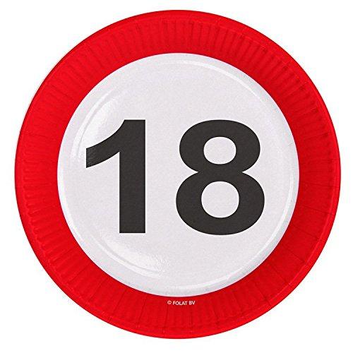 Folat 18. Geburtstag Geburtstag Pappteller 8 Stück rot-Weiss-schwarz 23cm Einheitsgröße (Und Rote Pappteller Weiße)