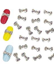 Trillycoler 10x Legierung 3D Strass Glitter Bowknot Nail Art Aufkleber