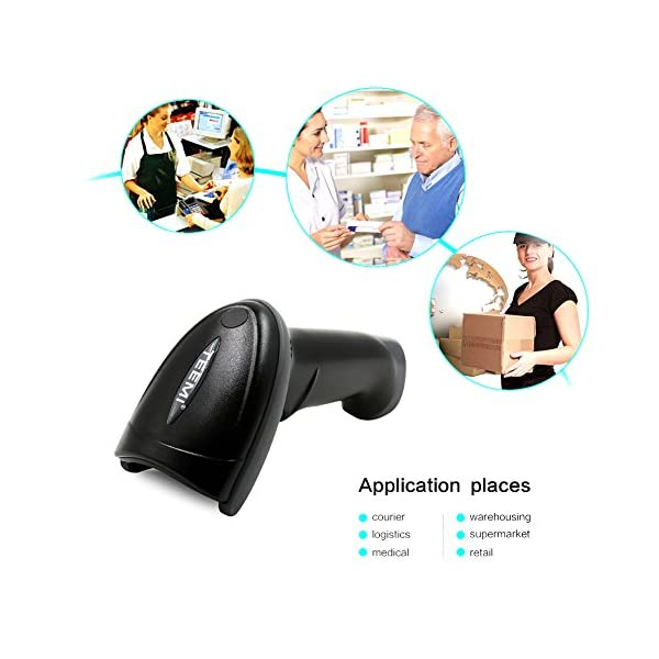 TEEMI 2D QR wireless Bluetooth Barcode Scanner with USB Cradle Receiver  Charging Base handheld Data matrix PDF417 image reader Portable Automatic  Bar