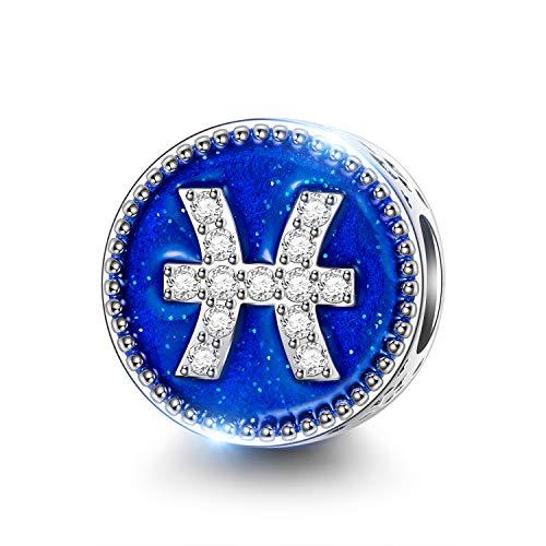 NINAQUEEN Fische Sternzeichen Charms für Pandora Armband Schmuck für Frauen Silber 925 Emaille Perlen Geschenk für Frauen Mädchen Geburtstagsgeschenk für Frauen Mutter Ehefrau Freundin (Mädchen-charme-armband, Wie Pandora)