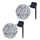 JMEXSUSS 2 Pack Solar Lichterkette 100LED 42.7ft 8 Modi Solar Weihnachtsbeleuchtung wasserdicht für Gärten, Hochzeit, Party, Häuser, Weihnachtsbaum, Vorhänge, im Freien (Weiß)