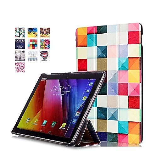 WindTeco Étui ASUS ZenPad 10 Z301MFL / Z2301ML / Z300M / Z300C - Etui Housse Ultra Mince et Léger à Rabat avec Support et Fonction Réveil / Sommeil Automatique pour Tablette ASUS ZenPad 10 Z301MFL / Z2301ML / Z300M / Z300C / Z300CG / Z300CL 10.1 Pouces, Cube Coloré