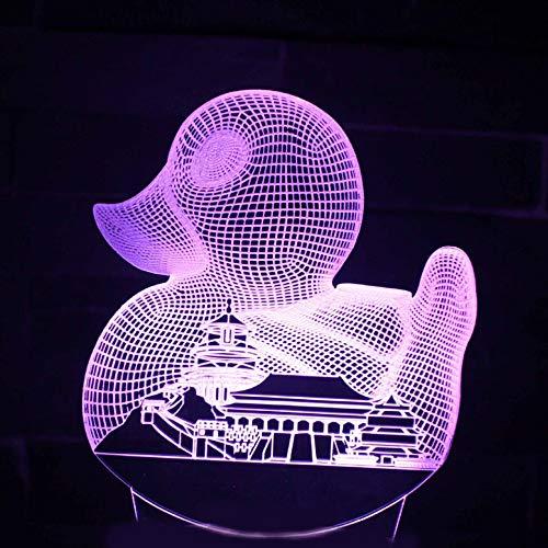 Neuheit Nachtlicht 3D LED Kreative Visuelle USB Kleine Ente Und Stadt Gebäude Schreibtischlampe Wohnkultur Baby Schlafen Leuchte