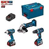 Kit Bosch PSL3P2M (GSR 18 V-EC + GDS 18 V-EC 250 + GWS 18-125 V-LI + Ladegerät AL1860CV + 2 Akkus 5,0 Ah + Koffer L-Boxx 238)