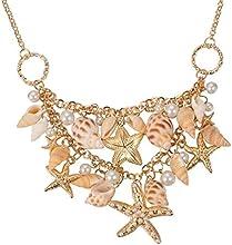 Pandahall 1 pieza Conchas pulseras moda Rhinestone de la aleacion, CCB Starfish y colgantes de perlas de vidrio, con cadenas de hierro y latón langosta cierres ,dorado 230mm