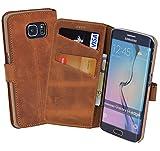 Book-Style Ledertasche Tasche für Samsung Galaxy S6 Edge *ECHT LEDER* Handytasche Case Etui Hülle (Original Suncase) in antik - cognac