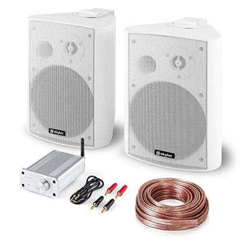Bluetooth Play WH • Hifi Set • 2-Wege Lautsprecher Paar • PA-Boxen mit 120 W Peak-Leistung • Mini-Stereo-Verstärker mit 2 x 20 W RMS Leistung • Bluetooth • Bassreflex-Gehäuse • weiß (Stereo-lautsprecher-verstärker)