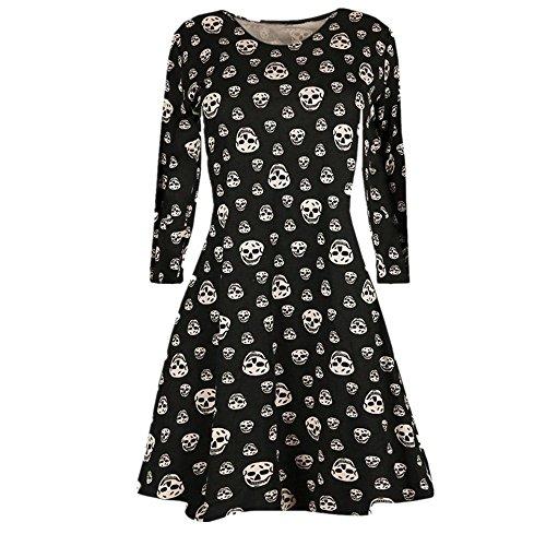 OverDose Neue Damen Damen Halloween Kürbis Schädel Langarm Party Mini Kleid Black 2