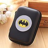 ZA eShop Mini Package Wallets Bags Digital EVA Earphone Pouch Case Cute Cartoon Anime Gift Pouch Rectangle Silicone Coin Purse Batman