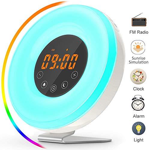 wlooo Lichtwecker Wake Up Licht, Sonnenaufgang Simulation Lichtwecker &FM Radio LED Lamp Nachtlicht, Schlummer&Sonnenuntergang, 6 Natur Sounds 7 Farben/10 Helligkeit, Touch Control USB Ladegerät -
