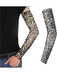 TiaoBug Unisex Manguitos de Tatuaje Falso Manguito de Broma para Fiesta Disfraz Mangas Brazo Elástico Protección