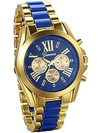 f2bb9d2b3f12 JewelryWe Reloj de negocio Reloj de caballero número romano Tres ojos  decorativos acero inoxidable Dorado Azul