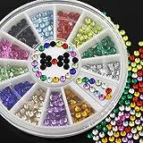 Mflbefulmel 1ruota 12colori 3D nail art stickers Glitters tips nail decorazioni di strass perline manicure Wheel DIY Crystal charm per unghie e cellulari