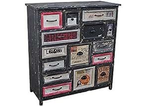 schrank kommode brent mehrfarbig echtholz 15 schubladen used look sideboard. Black Bedroom Furniture Sets. Home Design Ideas