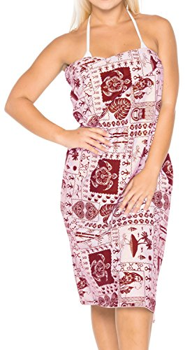 womens navigare ondulato gonna bikini costumi da bagno di cotone leggero coprire sarong Rosso 4