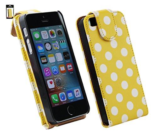 Emartbuy® Apple iPhone SE Premium PU Leder Schlag Fall Abdeckung Beutel Polka Dots Gelb Weiß