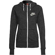 Chaqueta con capucha y cremallera completa de Nike Womens Gym Vintage, negro / vela,