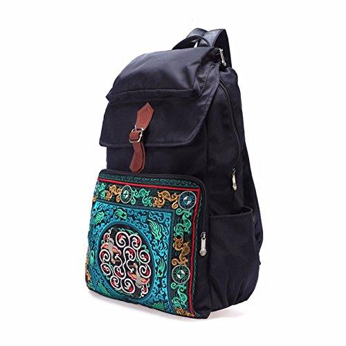 bestickt mit großer kapazität reisenden umhängetasche wasserdicht rucksack student tasche,schwarz schwarz