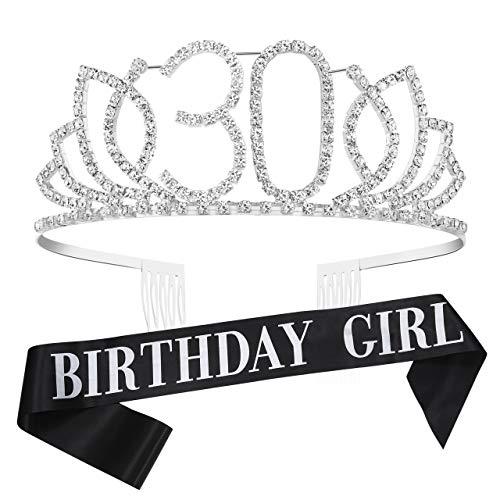 Coucoland Geburtstag Krone mit Geburtstag Schärpe Satin Birthday Crown and Sash Set Geburtstagsdeko Geschenk für Damen 18/21/30/40/50 Geburtstag Party Accessoires (Silber - 30 Jahre alt) (Geburtstag Tiara 30.)