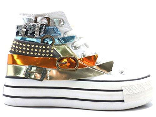 Scarpe donna HAPPINESS 36 sneakers bianco pelle tessuto AV729
