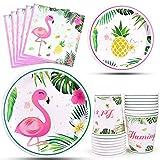 WERNNSAI Flamingo Party Zubehör - Tropische Luau Partydekorationen Einweg Geschirr Set Abendessen Dessert Teller Servietten und Tassen für Mädchen Kinder Geburtstag Babydusche 16 Gäste 64PCS