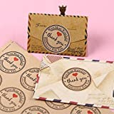 Hosaire 120 Pcs 3.8CM Thank You Kraft Paper Sticker Labels for Wedding Party Favor Thank You Card, Thank You Stamp Sticker, DIY Gift Packaging(10 Sheets)