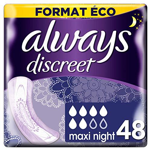 Always Discreet Binden für Blasenschwäche Maxi Nacht, Format Eco x 48 cm, 4 Packungen