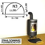 Kaminbodenplatte Funkenschutz Stahl schwarz Kaminofen Ofen Kamin N3 - 450 x 700 x 2 mm (Stahl schwarz)