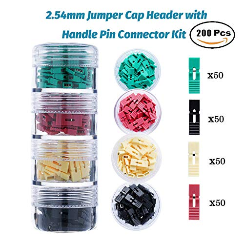 200 Pieces Standard Computer Jumper Caps with Handle Pin Shunt Short Circuit 2-Pin Connector (Shunts). Suitable for Arduino Raspberry Pi PCB PC DVD HDD Motherboard Shorting and Other Items. Standard-pc